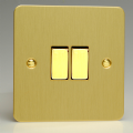 Varilight 2 Gang 10A 1 or 2 Way Rocker Light Switch Ultra Flat Brushed Brass XFB2D